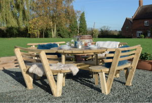 Round Garden Table with backrests