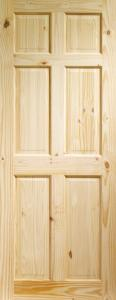 XL Colonial 6 Panel Knotty Pine Door