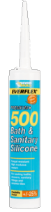 Everbuild Silicone 500 White Bath & Sanitary Sealer 310ml