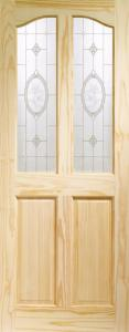 XL Rio Clear Pine Door With Crystal Rose Glass