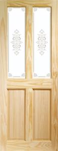 XL Victorian Clear Pine Door With Campion Glass