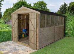Apex Overlap Pressure Treated Shed 12x8 (Double Door)