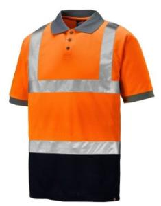 Dickies Two Tone Hi-Vis Polo Shirt Orange/Navy