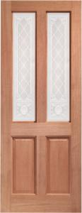 XL External Malton Unfinished Hardwood Door With Burns Glass (M&T)