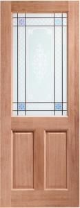 XL External 2XG Unfinished Hardwood Door With Carroll Glass