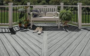Trex Enhance Naturals Grooved Composite Decking Board Foggy Wharf 25mm x 140mm